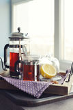 Cups of tea  with french press Stock Photography