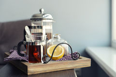 Cups of tea  with french press Royalty Free Stock Images