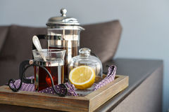 Cups of tea  with french press and lemon Royalty Free Stock Image