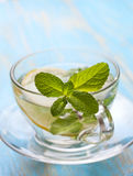 Cups of tea with fresh mint and lemon Royalty Free Stock Images