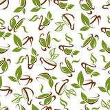 Cups of tea with green leaves seamless pattern Stock Photo