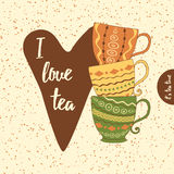 Cups of tea, heart and positive thinking. Royalty Free Stock Photography