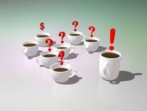 cups tea Kontorstebjudning Diskussion eller kommunikation under ett kaffeavbrott Symbolisk bild av svar och frågor vektor illustrationer