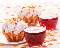 Cups of tea and muffins Royalty Free Stock Image