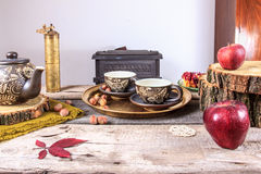 Cups of tea on old wooden table Royalty Free Stock Image