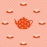 Cups and tea-pot Stock Images