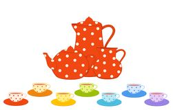 cups and tea-pot Royalty Free Stock Images