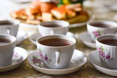 Cups with tea on a table Royalty Free Stock Photo