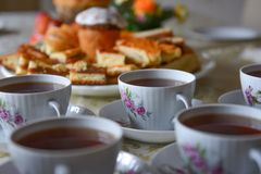 Cups with tea on a table Stock Image