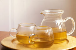 Cups of tea and teapot Royalty Free Stock Images