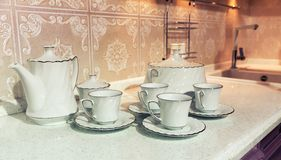 Cups of tea with a teapot Stock Image