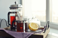 Cups of tea on vintage tray Stock Photography