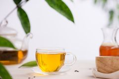 Cups of tea on wooden table background.  Stock Image