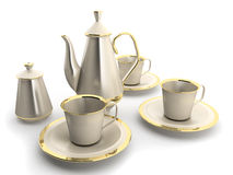 Cups and teapot royalty free stock photography