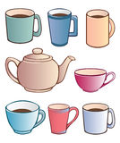 Cups and Teapot Royalty Free Stock Images