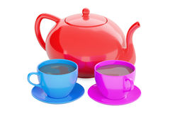 Cups with teapot, 3D rendering. Isolated on white background Stock Images