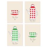 Cups and teapot vector cartoon illustration, Decorative frame, label, Stylish design for tea time, tea party invitation Stock Photo