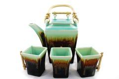 cups teapoten Fotografering för Bildbyråer