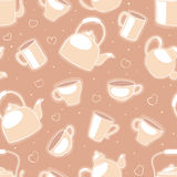 Cups and teapots - 2. Beije seamless pattern with cups and teapots Royalty Free Stock Photo