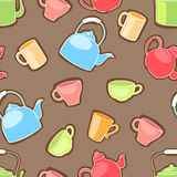 Cups and teapots. Seamless pattern with colored cups and teapots Royalty Free Stock Image