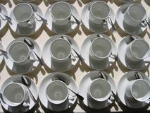Cups top view. Aligned cups of tea top view Stock Photography