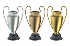 Cups or trophies gold, silver, bronze. Isolated on white background Royalty Free Stock Photo