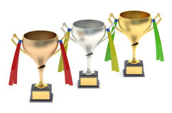 Cups or trophies gold, silver, bronze. With ribbons Royalty Free Stock Photos