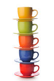 Cups on a white background. Cups with saucers on a white background Royalty Free Stock Photo