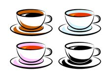 Cups on white background. Collection of cups on white background royalty free illustration