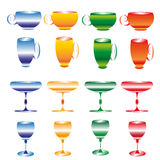 Cups and wine glasses Royalty Free Stock Photo