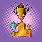 Cups winner, first second third place pedestal. Sports champions. Hip competition. Comic cartoon pop art retro illustration vector drawing Royalty Free Stock Photos