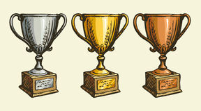Cups of the winner. Vector drawing Royalty Free Stock Images