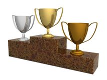 Cups for winners. Of competitions. the 3D  image Royalty Free Stock Image