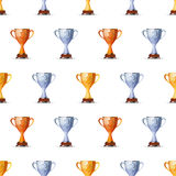 Cups of winners award for first, second and third. Winners position on white background seamless pattern Royalty Free Stock Photo