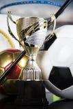 Sport podium, Cups of winners award. Cups of winners award, Sport equipment and balls stock photos