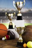 Sport podium, Cups of winners award. Cups of winners award on white podium, sport background royalty free stock images
