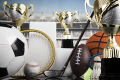Sport podium, Cups of winners award. Cups of winners award on white podium, sport background royalty free stock photos