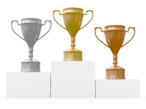 Cups for winners of competitions. Isolated 3D image stock illustration