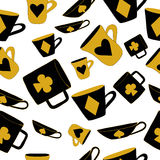 Cups With Cards Suits From Alice In Wonderland. Stock Photos
