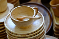 Cups wooden spoons Stock Image