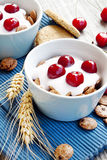 Cups with yogurt and cherries Royalty Free Stock Image