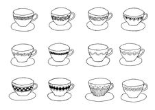 Cupsa and saucers. A set of twelve china cups n saucers with various designs stock illustration