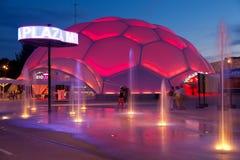 Cupula del Milenio de Valladolid la nuit Photos stock
