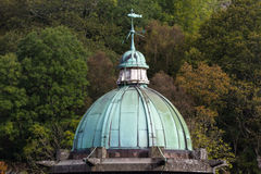 Cupula green dome, copper with Verdigris, gloomy sky Royalty Free Stock Photos