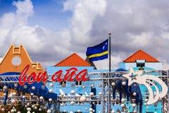 Curaçao señala por medio de una bandera en los Años Nuevos Foto de archivo libre de regalías