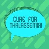 Cura conceptual da exibição da escrita da mão para o Thalassemia O tratamento apresentando da foto do negócio precisou para este  ilustração royalty free