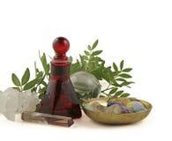 Cura cristalina, hierbas y aceites esenciales Foto de archivo libre de regalías