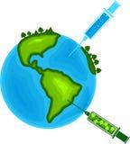 Cura da seringa o fundo branco isolado melhor vida do ambiente da natureza da suficiência do mundo saudável ilustração royalty free