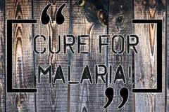 Cura del testo della scrittura per malaria Significato di concetto come la droga di Primaquine usata contro malaria per la preven immagine stock libera da diritti