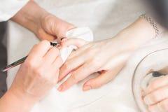 Cura dell'unghia del dito del primo piano dallo specialista del manicure nel salone di bellezza Pinze professionali della chiara  fotografie stock libere da diritti